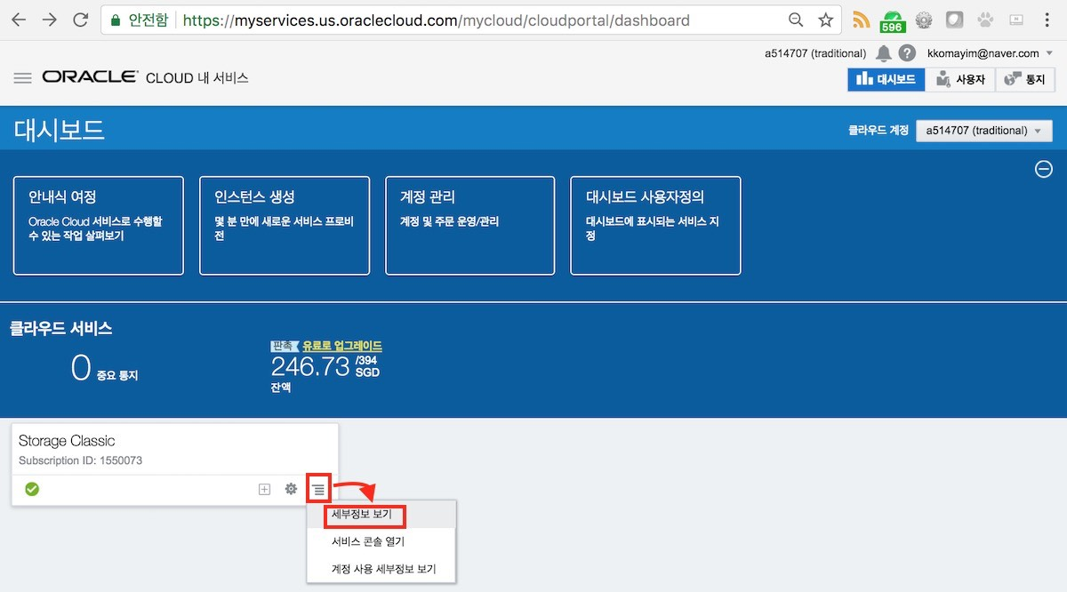 Oracle Storage CS의 세부 정보 실행
